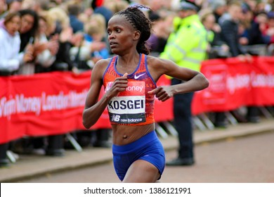 London/UK 04/28/19 Virgin Money London Marathon 2019 Brigid Kosgei (KENYA)  the winner of the Elite Women event pictured about 350 yards from the finish line
