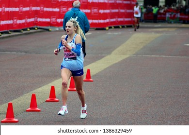 London/UK 04/28/19 Virgin Money London Marathon 2019 Charlotte Purdue (GBR) in the Elite Women event pictured about 350 yards from the finish line. She finished in 10th place