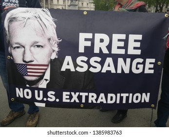 London/UK - 05.01.2019: People demand to free Assange on Trafalgar square in London