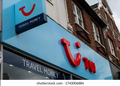 London.UK- 05.27.2020: the sign, logo, signage of a branch of TUI. A high street travel retail store previously known as Thomson before the rebranding. One of the worlds biggest travel company.