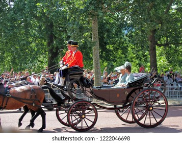 London/UK - 06/12 /2018: Kate Middleton and Camilla Parker Bowles, Trooping the colour royal family carriages ride along the mall in London - stock photo, stock photograph, image, picture, editorial