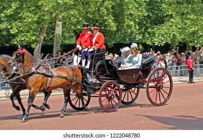London/UK - 06/12 /2018: Kate Middleton and Camilla Parker Bowles, Trooping the colour royal family in carriages ride along the mall in London