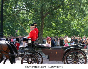 London/UK - 06/12 /2018: Princess beatrice and Eugenie Trooping the colour royal family in carriages ride along the mall in London