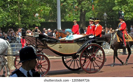 London/UK - 06/12 /2018: queen Elizabeth Trooping the colour royal family in carriages ride along the mall in London
