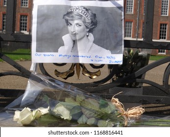 London/UK - 08.31.2018: People pay tribute to Princess Diana for 21st anniversary of her death at Golden Gates of  Kensington Palace, London, UK