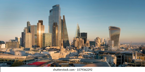 London/UK - 12.02.2019: This panoramic photo of the City Square Mile financial district of London shows many iconic skyscrapers including the newly completed 22 Bishopsgate tower