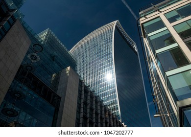LONDON/UK - 13 AUGUST 2017: Shot looking directly up at the Walkie Talkie Building from Fenchurch Street London.