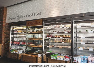London/UK - 22/07/19: refrigerators full of freshly prepared food in a Pret a Manger cafe on Sheldon Square, which is an international sandwich shop chain based in the United Kingdom
