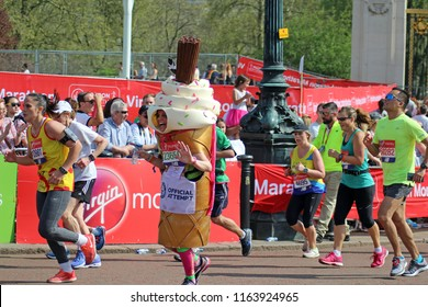 London/UK 4/22/18 Virgin Money London Marathon 2018. In her world record attempt running as a 99 ice cream Amanda Greenwood looks far from flaky. Here just yards from the finish ,approaching  The Mall