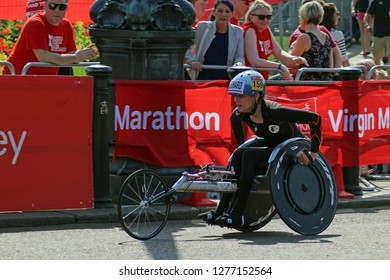London/UK 4/22/18 Virgin Money London Marathon 2018. Katrina Gerhard (USA) 350 yards from the finish line .VMLM wheelchair race (T53/T54) She finished 12th