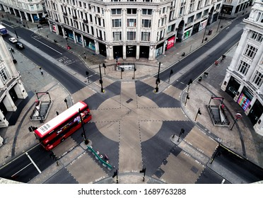 London/UK - April 01 2020:  Londons Regent Street and Oxford Circus are deserted during the Corona Virus outbreak.