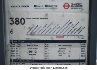London/UK April 13 2019: Bus stop showing 380 route to Belmarsh Prison on the day of protest at the arrest and imprisonment of Julian Assange. Credit: Katherine Da Silva