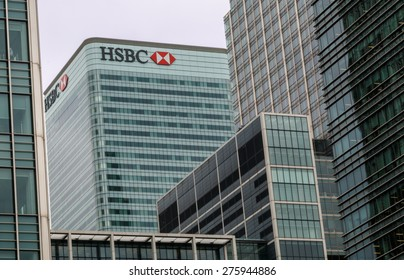 London,UK - April 20th 2015: HSBC Bank based in London's Canary Wharfe is considering whether or not to continue to have the banks headquarters in the UK