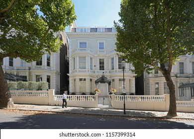 London/UK - August 2018: Holland Park one of the most prominent addresses in London. The street is filled with luxurious villas. This prime location is home to a selection of celebrities and embassies