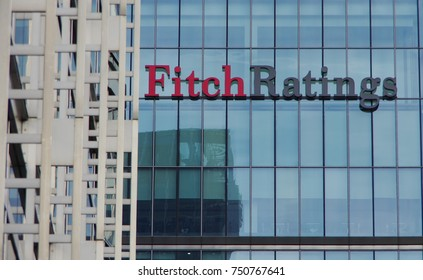 LONDON,UK - CIRCA OCT 2017 - The offices of FitchRating in Canary Wharf, London.