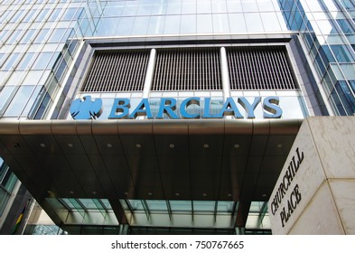 LONDON,UK - CIRCA OCT 2017 - The offices of Barclays in Canary Wharf, London.