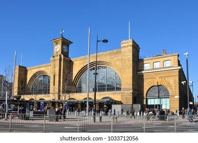 LONDON/UK - February 7, 2018. King's Cross railway station frontage, Euston Road, London, England