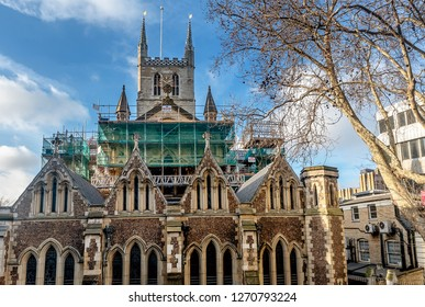 London,UK- January 10, 2018: Southwark Cathedral under construction in London,England