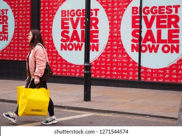 London.UK. January 1st 2019. Shoppers stay away from January Sales on an empty Oxford Street in central London.