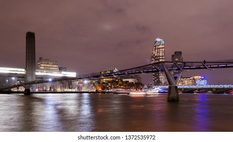 London,UK,  january 2019. City sky line at night, with millenium bridge and tate modern the main landmarks. City lights reflecting in the Thames water