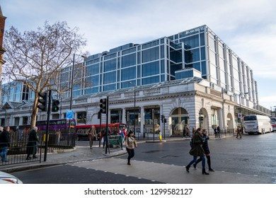 London,UK - January 27th 2019: Pimlico Westminster neighborhood district, people passing at Colonnade walk near Victoria station, urban street