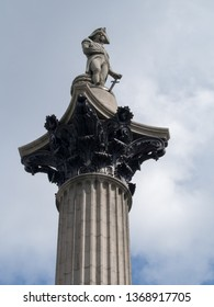 London/UK - July 08 2017: Detail of Admiral Nelson`s column, Trafalgar Square. Nelson`s Column was built to commemorate Admiral Horatio Nelson, who died at the Battle of Trafalgar in 1805.
