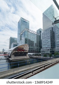 London/UK - July 08 2017: Modern buildings seen from the West India Quay DLR Station. West India Quay is a Docklands Light Railway DLR station in the West India Quay area