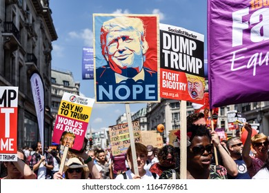 London,UK:  July 13th 2018:Thousands of anti-Donald Trump protesters descended on central London in the summer heat.The president of America is on his first visit to the UK.