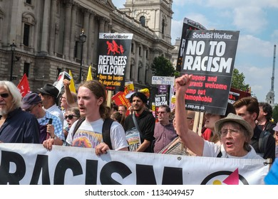 London,UK - July 14 2018: Anti-fascists protest with counter rally against Tommy Robinson supporters in London.