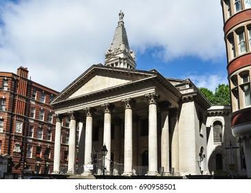 LONDON/UK - July 16, 2016. St George's Parish Church, Bloomsbury, London, England