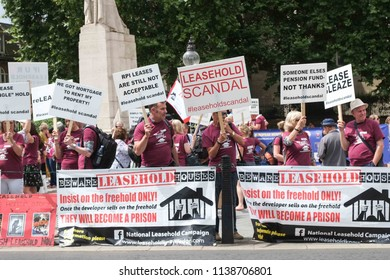 London,UK - July 20 2018: The National Leasehold Campaign protest opposite Parliament calling on the government to abolish all residential leaseholds and convert them into freehold houses or flats.