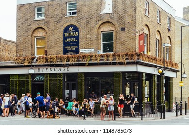 London/UK - July 21 2018: The Birdcage Pub on Columbia Road at the end of the flover market in the East London, UK.