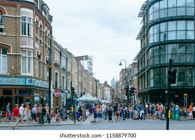 London/UK - July 22 2018: view of the Brick Lane to the South from it's intersection with Bethnal Green Road