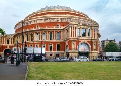 LONDON,UK - JULY 26,2019 :  The Royal Albert Hall on a typical cloudy day in London