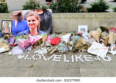LONDON,UK - JULY 8, 2016: Tribute on Parliament Square in remembrance to British politician Jo Cox, who was killed in Birstall, West Yorkshire.