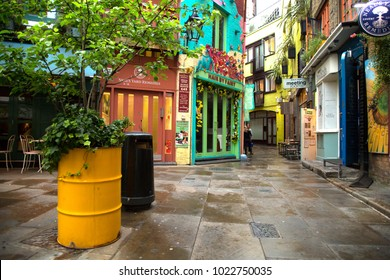 LONDON-UK, June 5 2017:  Neal's Yard is a small alley in London's Covent Garden between Shorts Gardens and Monmouth Street which opens into a courtyard