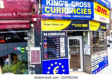London,UK - June 9, 2015: Currency Exchange Bureau King cross currencies on Gray's Inn Road near St. Pancras Tube Station