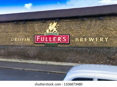 London,UK - June 9, 2015: Fuller's Griffin Brewery sign on brick wall, where the popular English beer 'London Pride' is made in Chiswick, West London