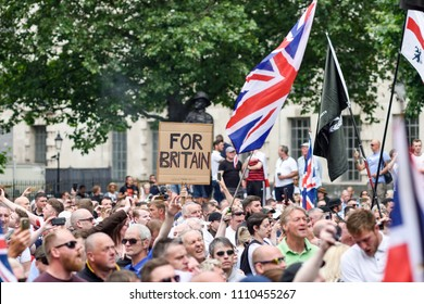 London,UK. June 9th 2018:Protest to free far right activist Tommy Robinson who was arrested for breach of the peace outside a courthouse in Leeds on the 25th May.Mr Robinson is serving 13 months.