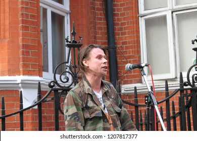 London/UK- June19 2018: Lauri Love gives a speech at Julian Assange rally of support outside the Ecuadorian Embassy.