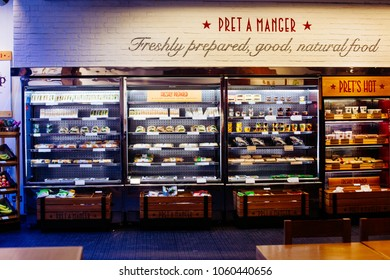London/UK - March 10 2018: interior of the Pret a Manger which is an international sandwich shop chain based in the United Kingdom