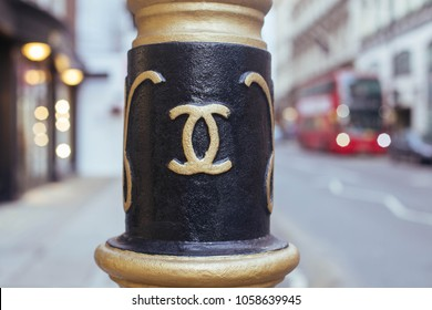 London/UK - March 15 2018: Chanel sign on the lamppost in Westminster city borough, London, UK