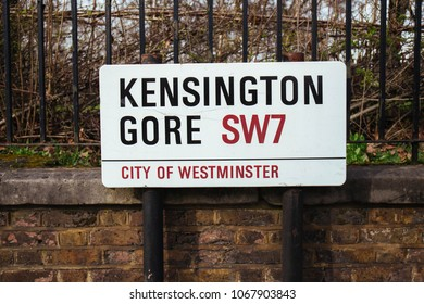 London,UK / March 15 2018: Street Sign of Kensington Gore which is the name of two thoroughfares on the south side of Hyde Park in central London, England. A gore is a narrow, triangular piece of land
