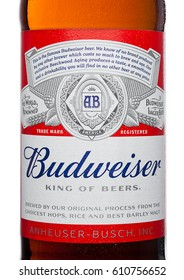 LONDON,UK - MARCH 21, 2017 : Bottle label of Budweiser Beer with new twist off cap on white background. An American lager first introduced in 1876.