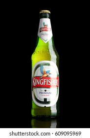 LONDON,UK - MARCH 23, 2017 : Bottle of Kingfisher beer on black background. Kingfisher is the Number one beer of India.