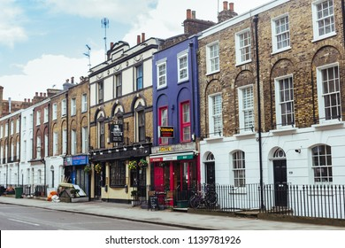 London/UK - March 25 2018: typical rowhouses along the Eversholt street in London, UK