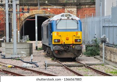 LONDON/UK - March 26, 2019. Class 67 diesel loco on pilot duty, King's Cross, London, England