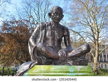 LONDON/UK - March 26, 2019. Statue of Mahatma Gandhi, Tavistock Square, Bloomsbury, London, England