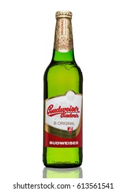 LONDON,UK - MARCH 30, 2017 : Bottle of  Budweiser Budvar beer on white background, one of the highest selling beers in the Czech Republic.