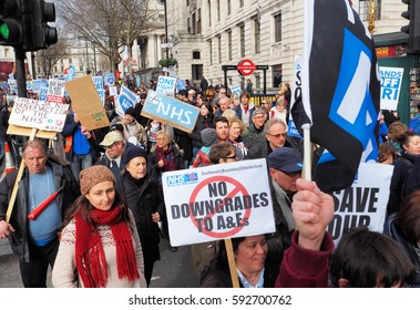 London,UK, March 4th 2017.Thousands march through central London in support of the NHS.